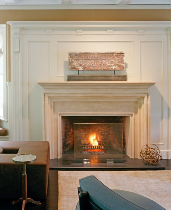 Brookline Period Home Renovation Living Room Fireplace