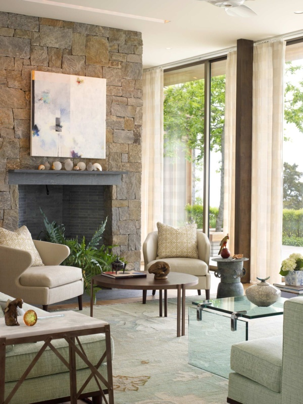 Sag Harbor Modern Waterfront Living Room Fireplace