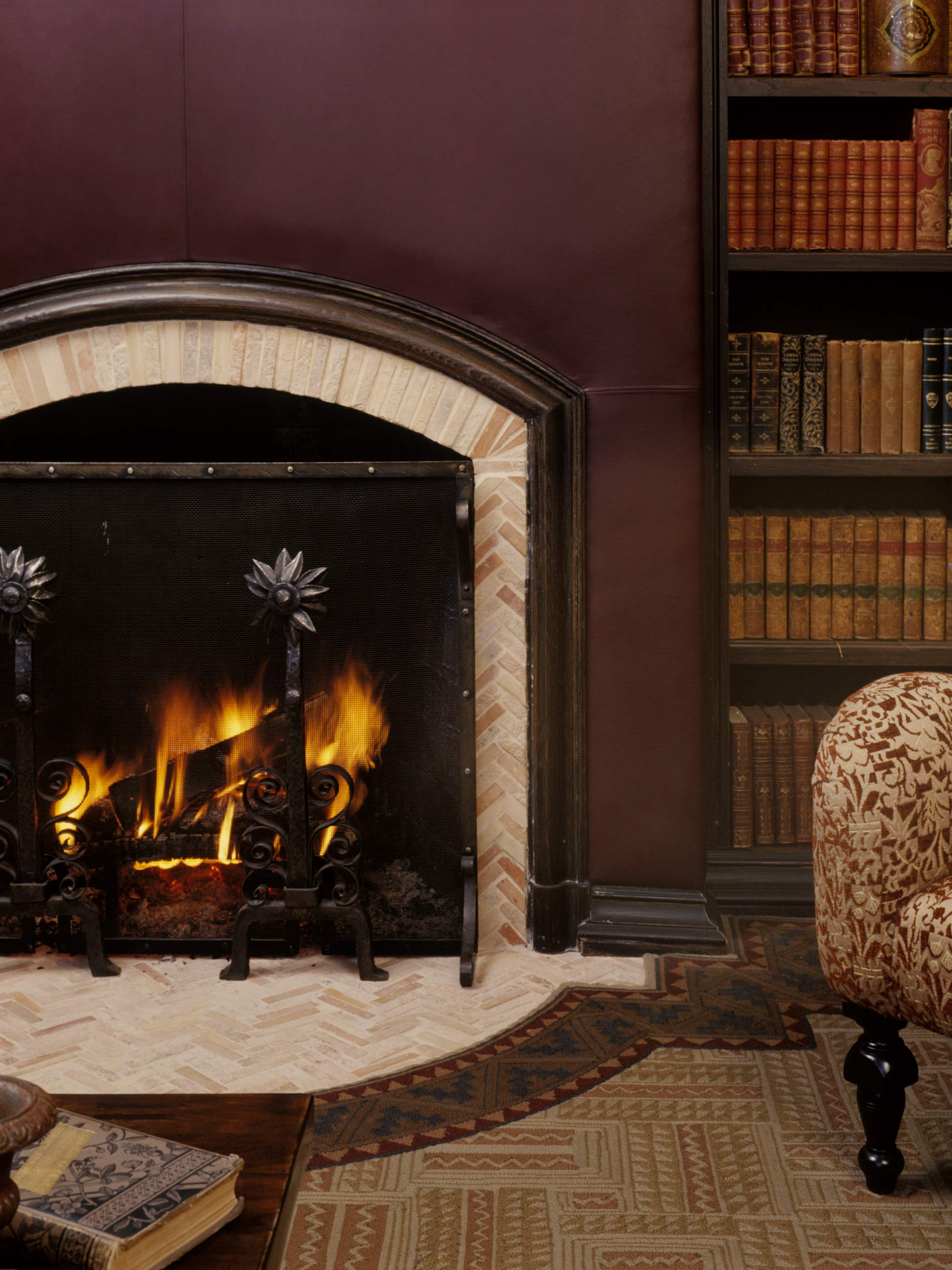 1920's Carriage House Conversion Fireplace Library