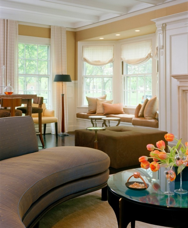 Brookline Period Home Renovation Living Room Bay Window