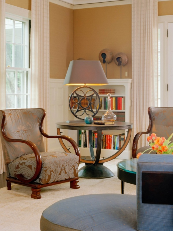 Brookline Period Home Renovation Living Room Chairs