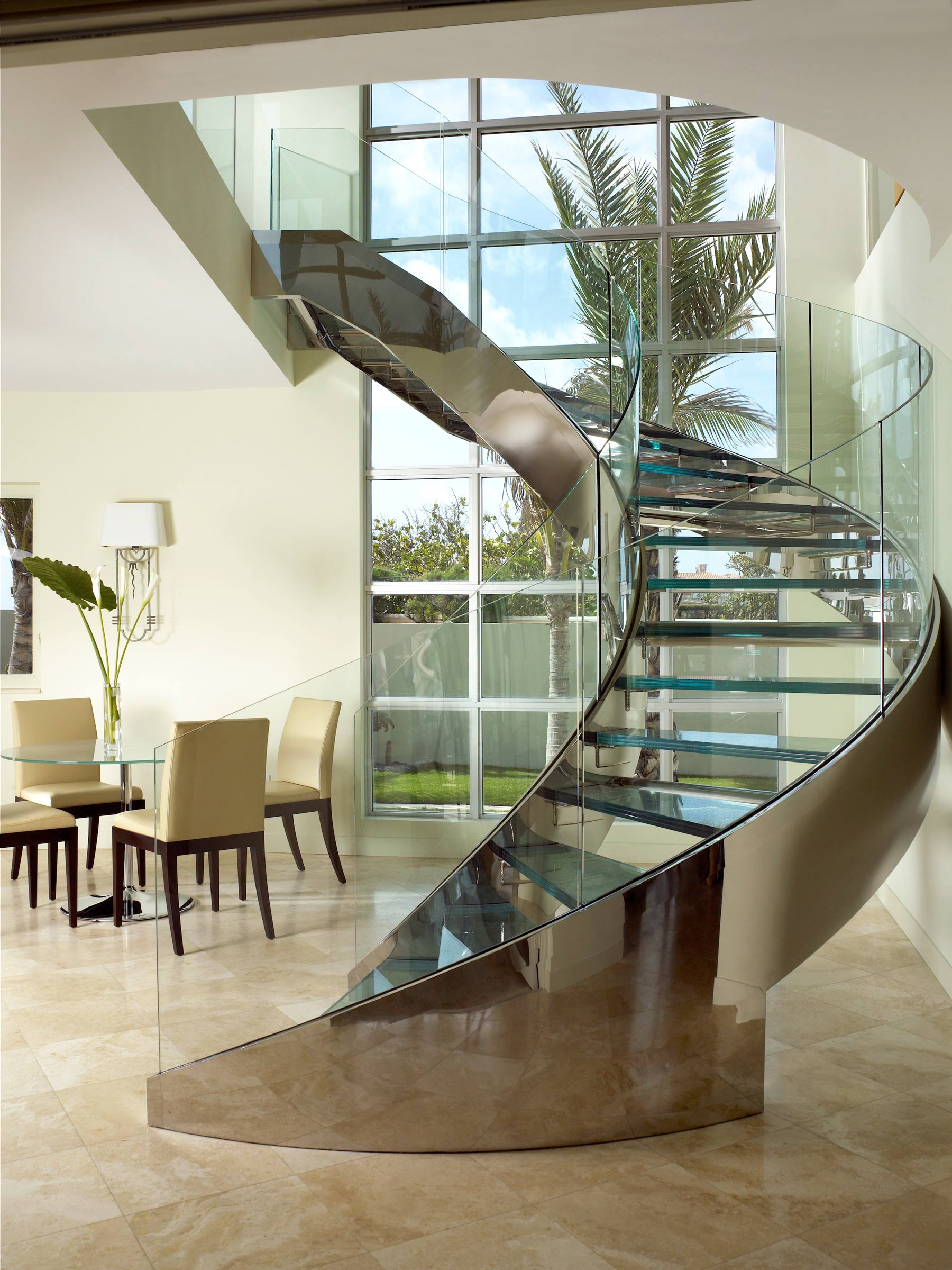 Palm Beach Deco Oceanfront and Cabana Dining Staircase