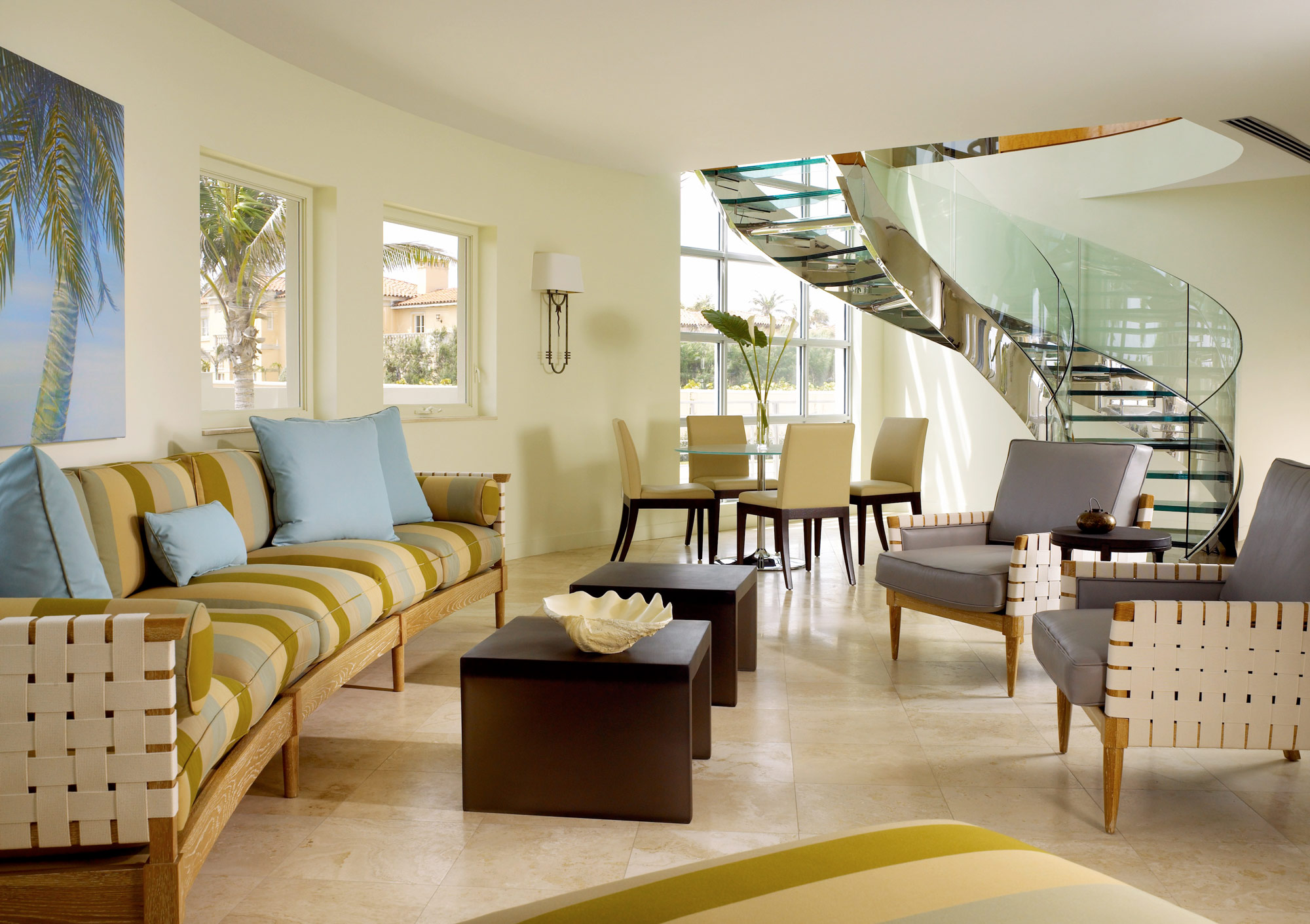 Palm Beach Deco Oceanfront and Cabana Living Dining Staircase