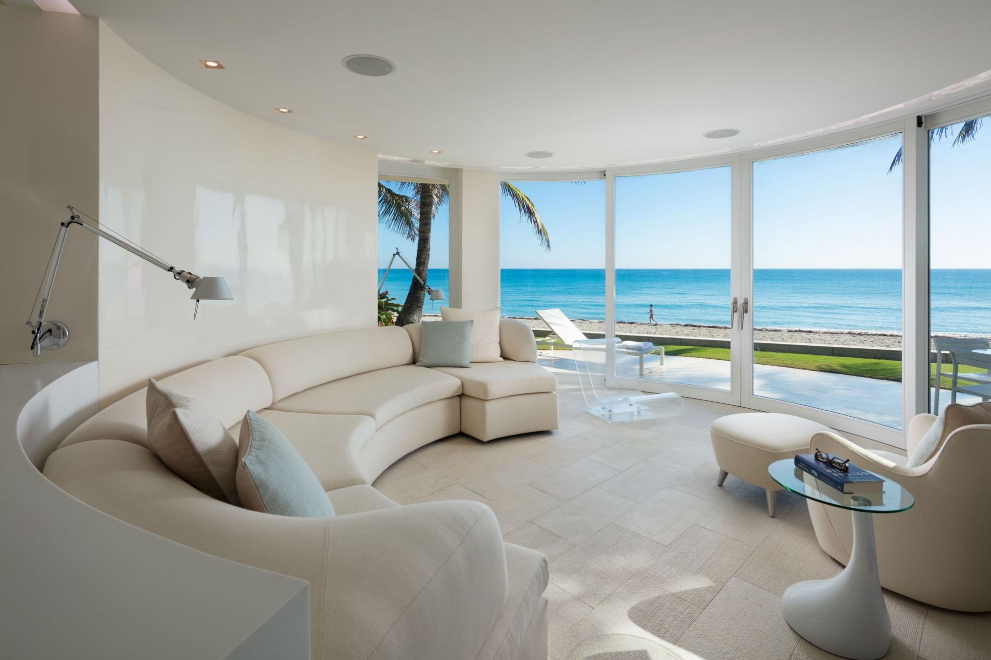 Palm Beach Deco Oceanfront and Cabana Living Room Beach View